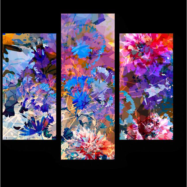 Модульная картина Цветочная геометрия