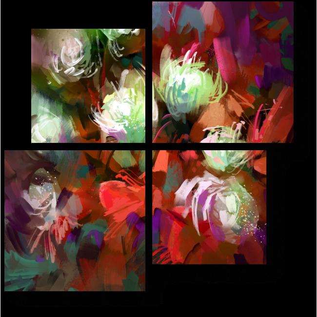 Модульная картина Яркий живописный букет