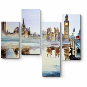Модульная картина Лондон, акварель