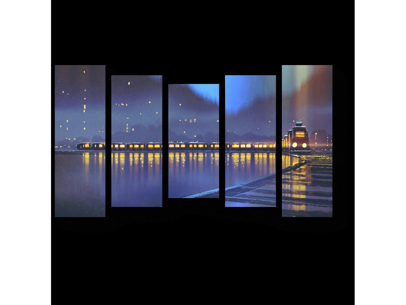 Модульная картина Ночные огни (90x54) фото