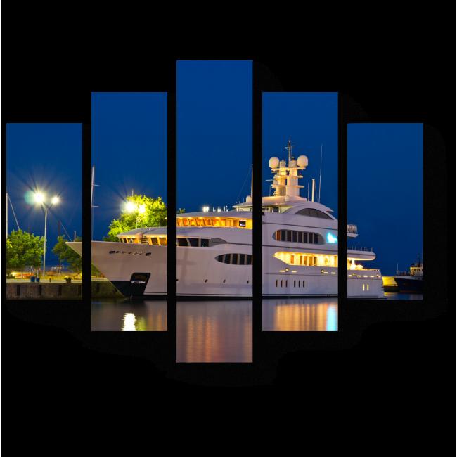 Модульная картина Красавица-яхта в ночном порту