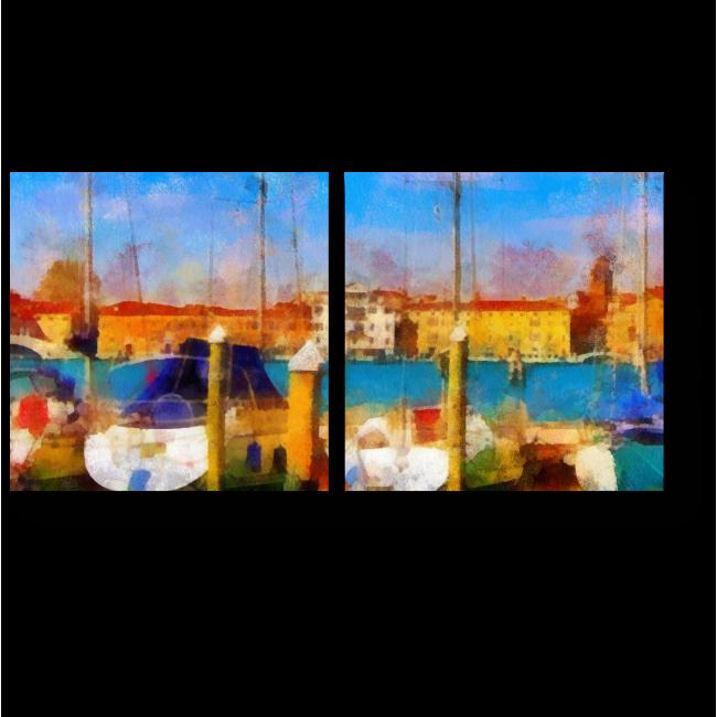 Модульная картина Морской пейзаж, акварель