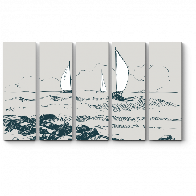 Модульная картина Бущующее море