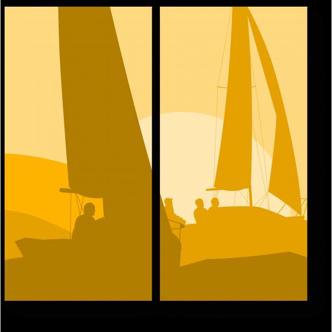 Модульная картина Яхты в лучах закатного солнца
