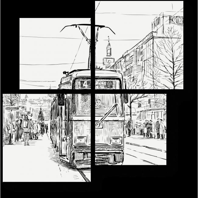 Модульная картина Городской пейзаж в черно-белом