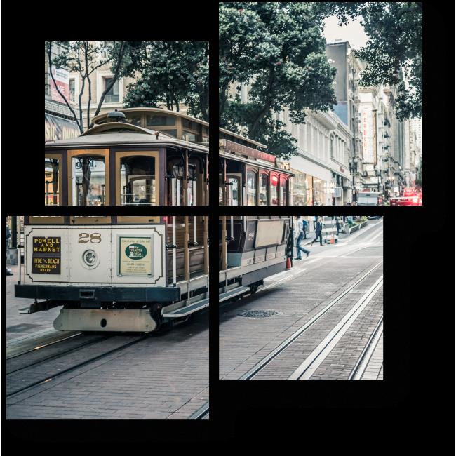 Модульная картина Ретро трамвай