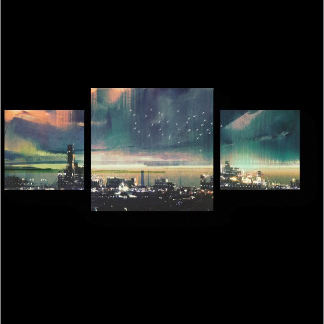 Модульная картина В ночном порту