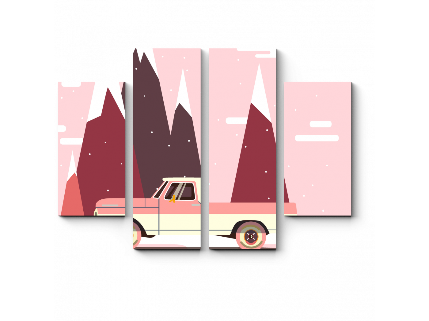 Модульная картина Ретро авто для путешествий (80x60) фото