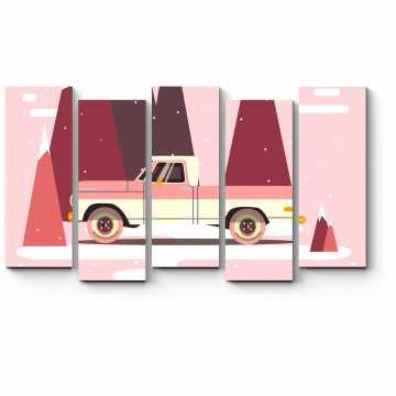 Модульная картина Ретро авто для путешествий