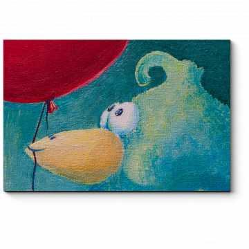 Модульная картина Птенчик с красным воздушным шариком