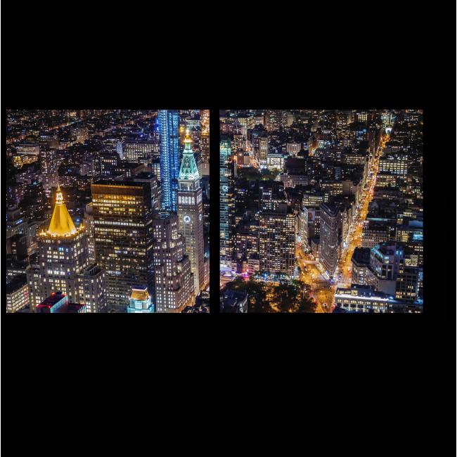 Модульная картина Вид на ночной Нью-Йорк