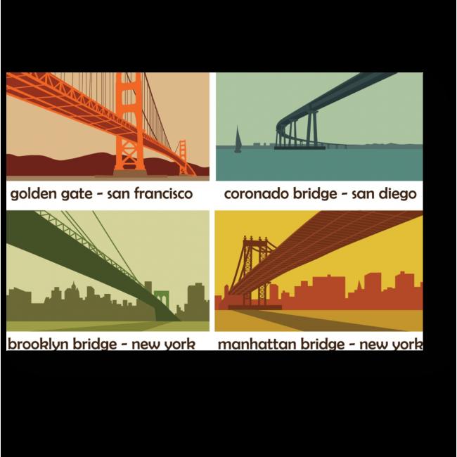 Модульная картина Мосты Америки