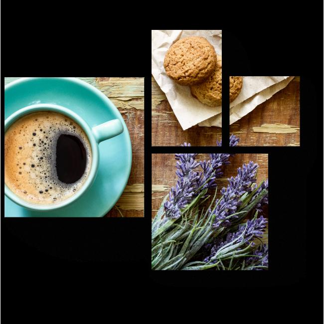 Модульная картина Лавандовый кофе