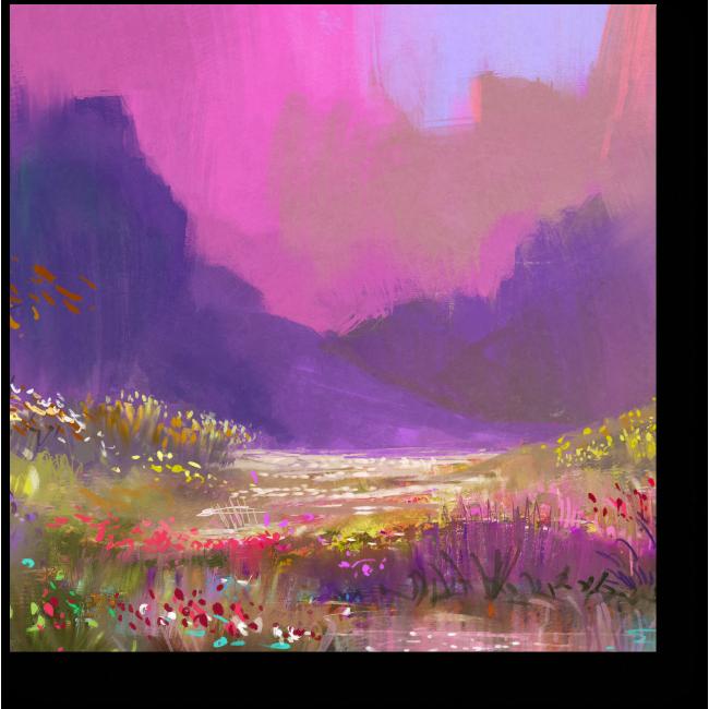Модульная картина Яркие цветы у подножия гор