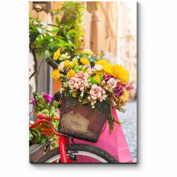 Модульная картина Велосипед с цветами на старой улице Рима
