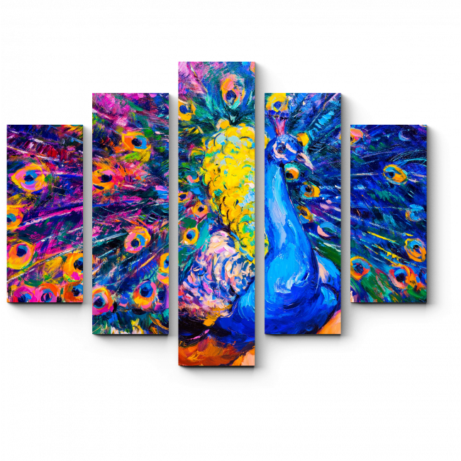 Модульная картина Красавец-павлин