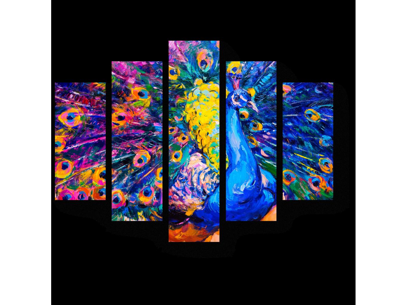 Модульная картина Красавец-павлин (75x60) фото