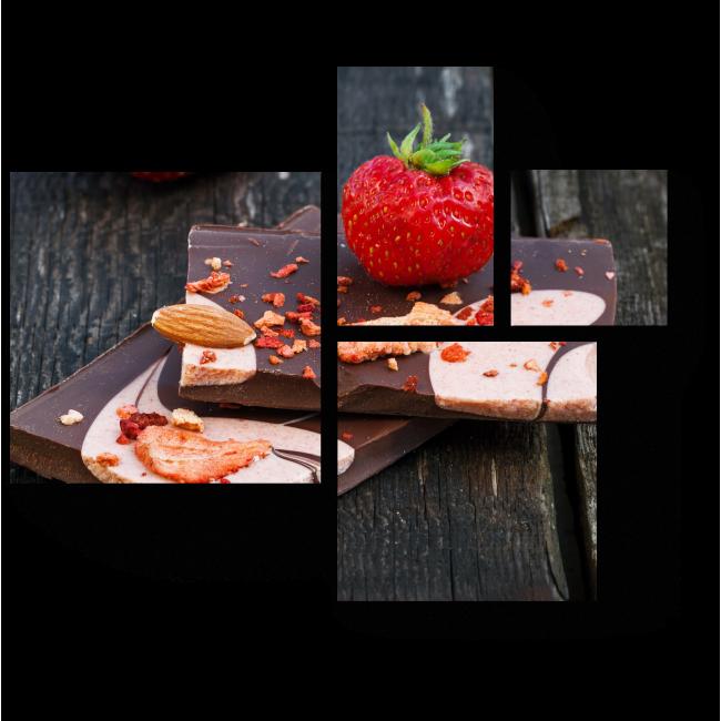 Модульная картина Домашний шоколад и клубника