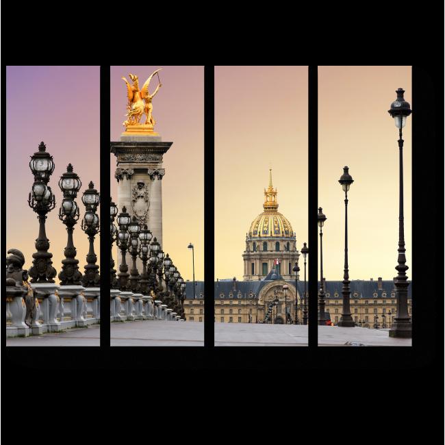 Модульная картина Великолепный рассвет в Париже