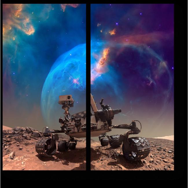 Модульная картина Марсоход на своей миссии