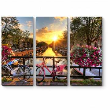 Модульная картина Прекрасный закат в Амстердаме