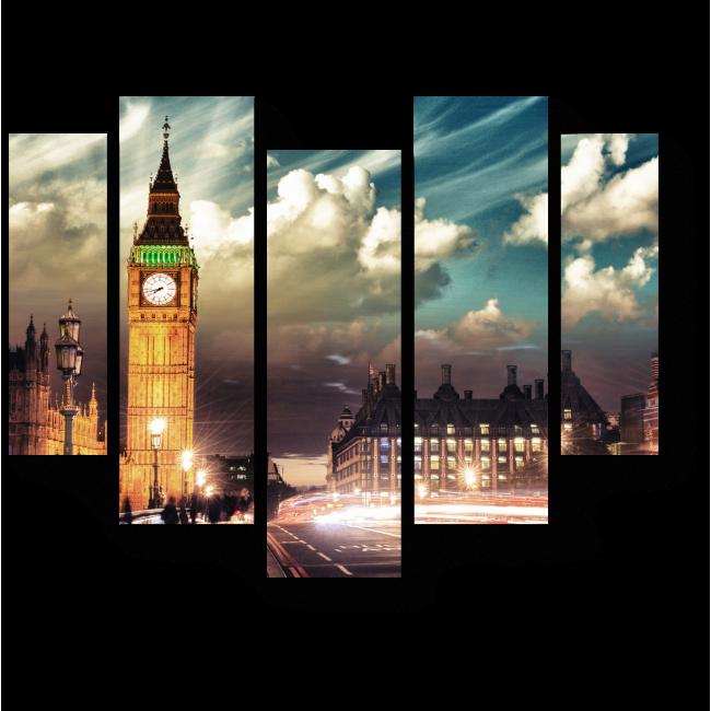 Модульная картина Яркие краски Лондона на закате