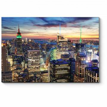 Модульная картина Нью-Йорк в закатных лучах