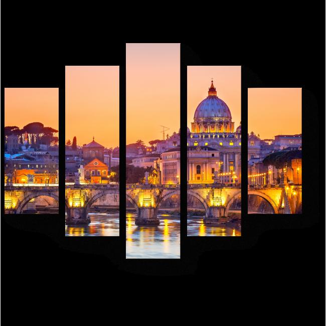 Модульная картина Собор Святого Петра в закатных красках, Рим