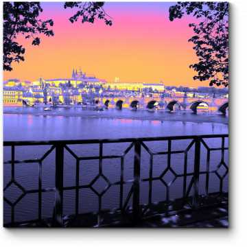 Модульная картина Радужный закат над Прагой