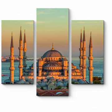 Модульная картина Голубая мечеть в закатных лучах, Стамбул