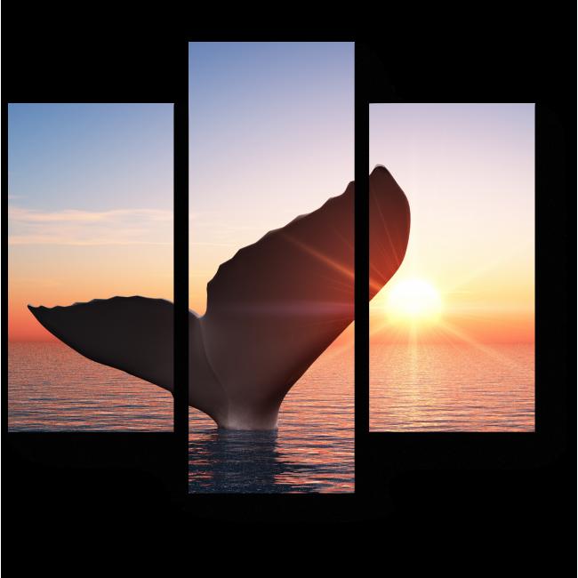 Модульная картина Силуэт кита на закате