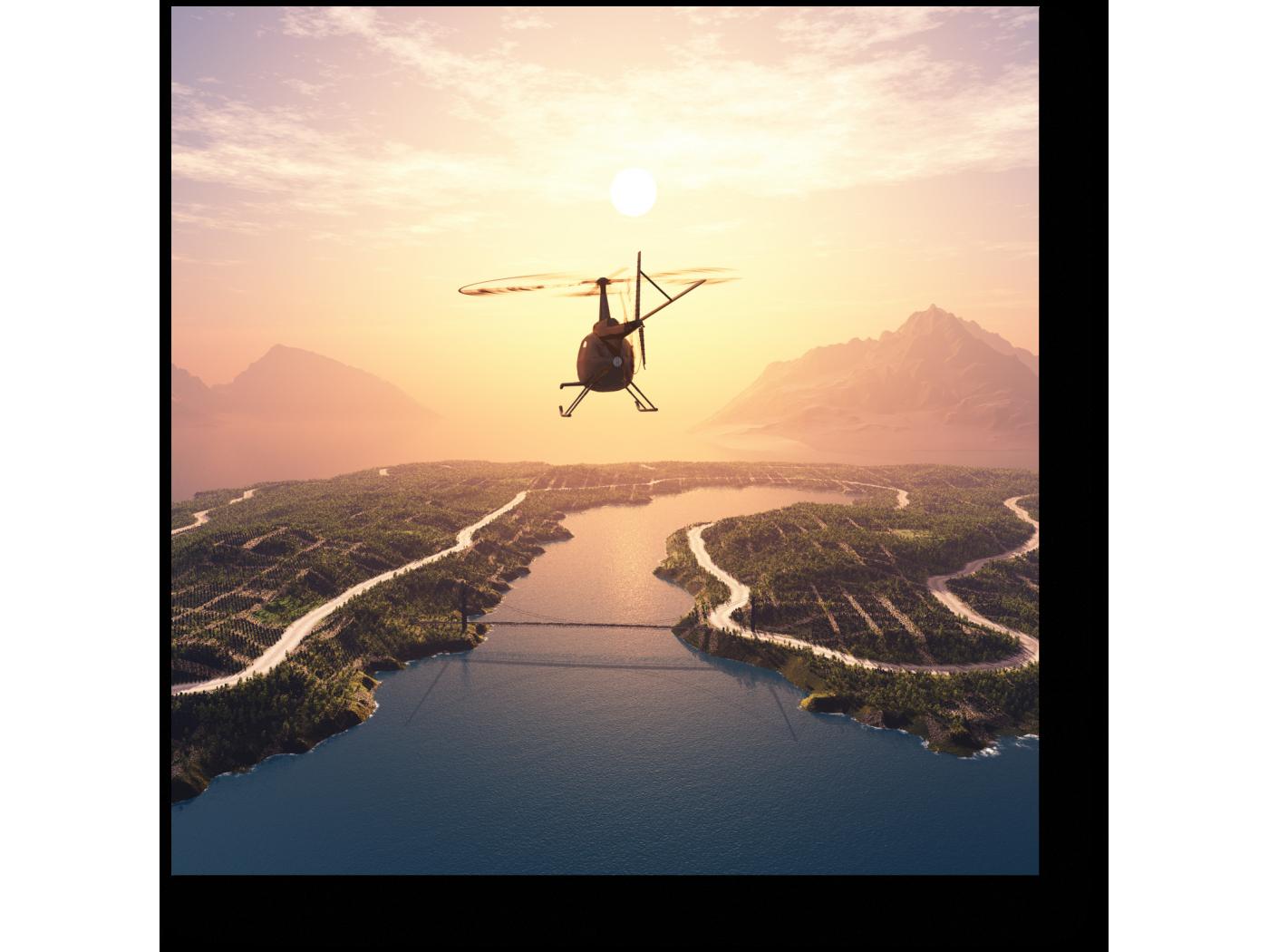 Вертолет на закате