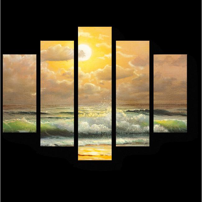 Модульная картина Волны в сияющем закате