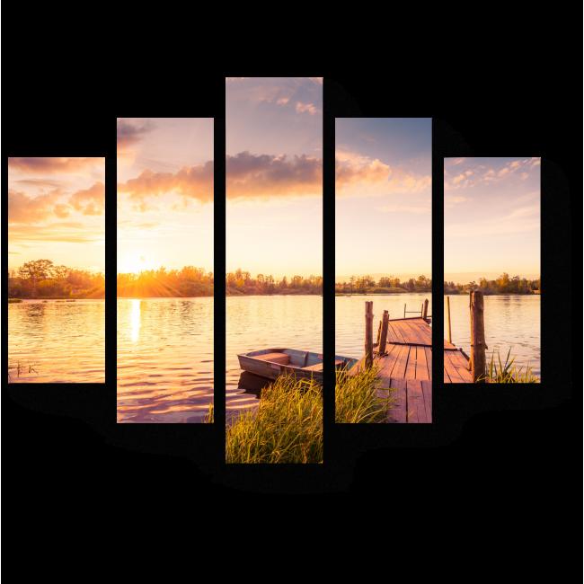 Модульная картина Тихий закат у озера
