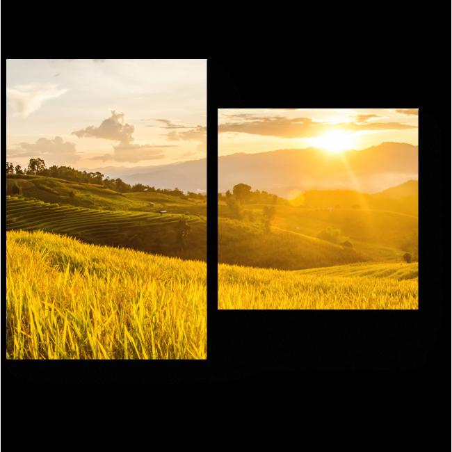 Модульная картина Закат над полями
