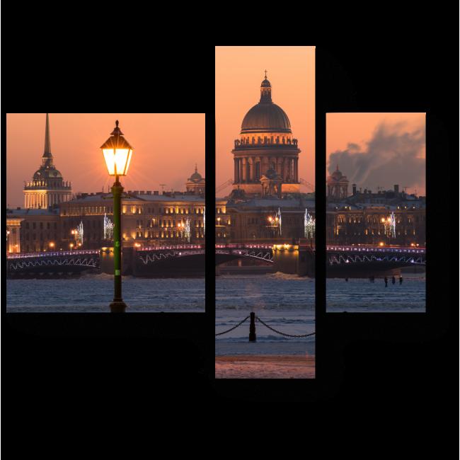 Модульная картина Вечерний город, украшенный огнями