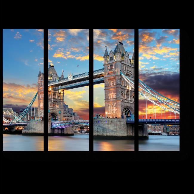 Модульная картина Тауэрский мост на закате
