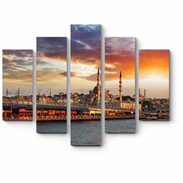 Модульная картина Захватывающий вид на закатный Стамбул