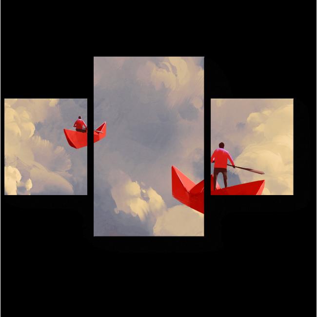 Модульная картина Бумажные кораблики