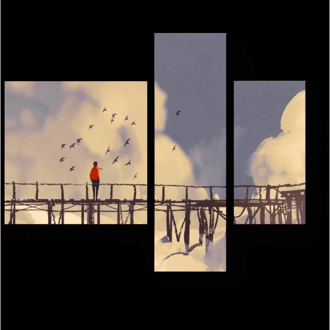 Модульная картина Мост в облаках