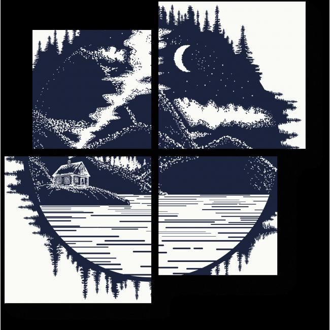 Модульная картина Дом в горах