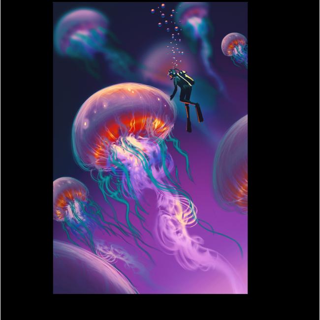 Модульная картина Мир медуз