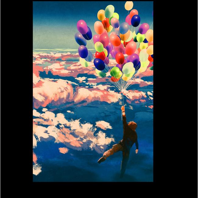 Модульная картина Полет на воздушных шариках