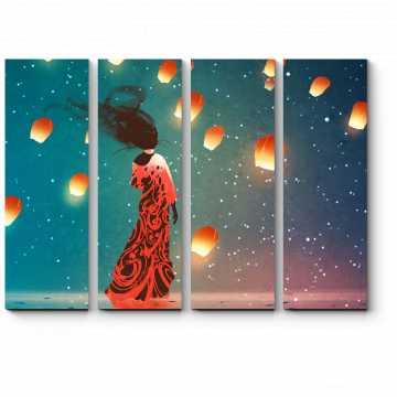 Модульная картина Бумажные фонарики