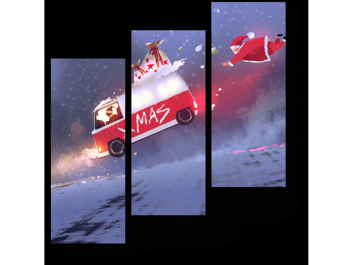 Модульная картина Рождественский переполох (60x64) фото