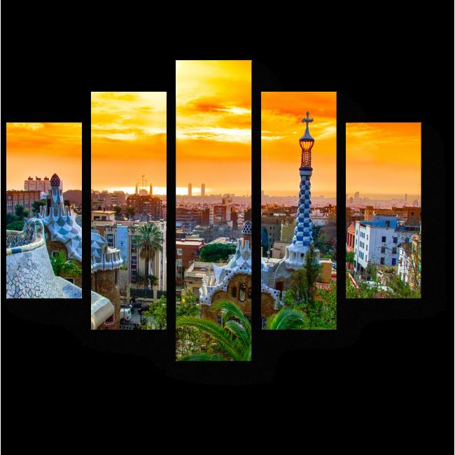 Модульная картина Великолепный закат, Барселона