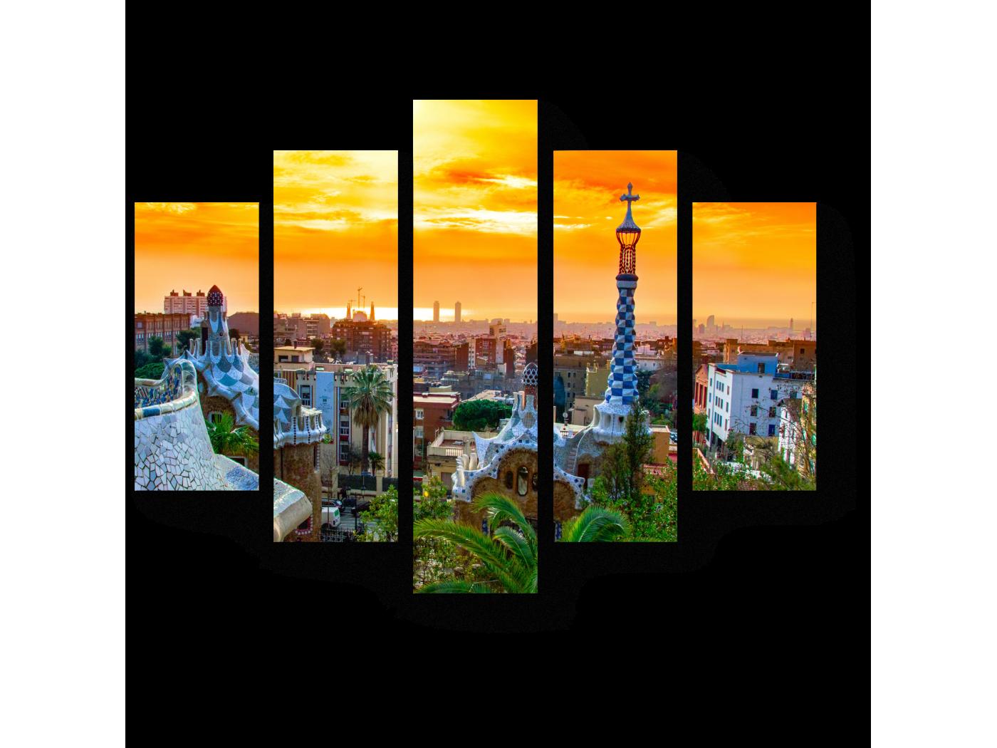 Модульная картина Великолепный закат, Барселона (75x60) фото