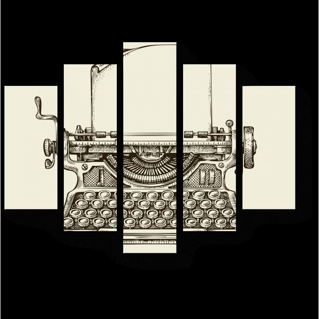 Модульная картина Винтажная печатная машинка