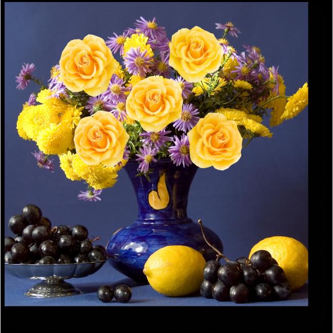 Модульная картина Виноград, лимоны и желтые розы