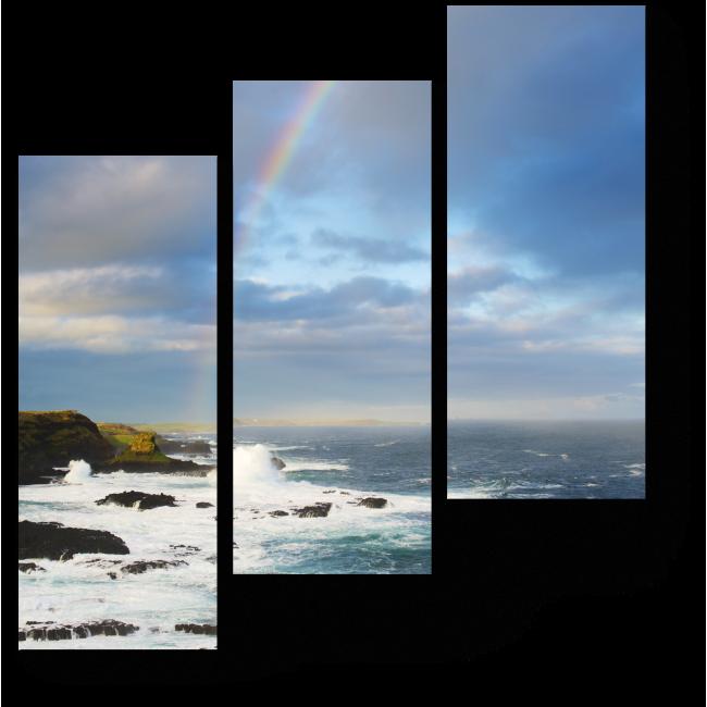 Модульная картина Морской пейзаж с радугой
